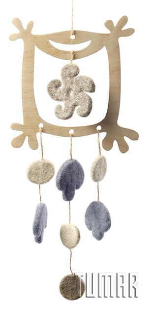 "Garlands ""Window"". Felt - 100% wool. Handmade, solid-rolled, ala-qiyiz technique. Base - wood. Christmas collection 2016. Tumar Art Group."