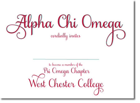 Alpha Chi Omega Sorority Bid Day Cards and Invitations - Custom made for your chapter! http://www.trulysisters.com/alpha-chi-omega-sorority/bid-day-cards/invitation-style-a