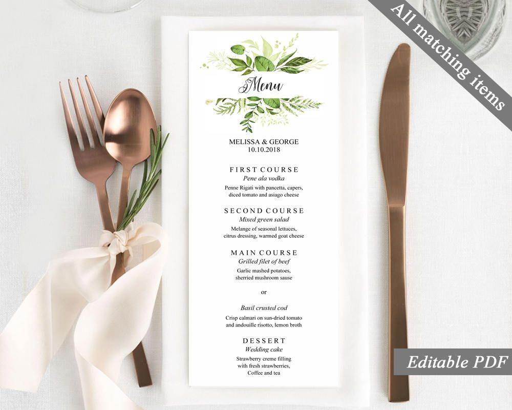 bridal shower invitations free printable templates%0A Greenery Wedding Menu Template  Printable Wedding Menu  Greenery Menu   Leaves Wedding menu