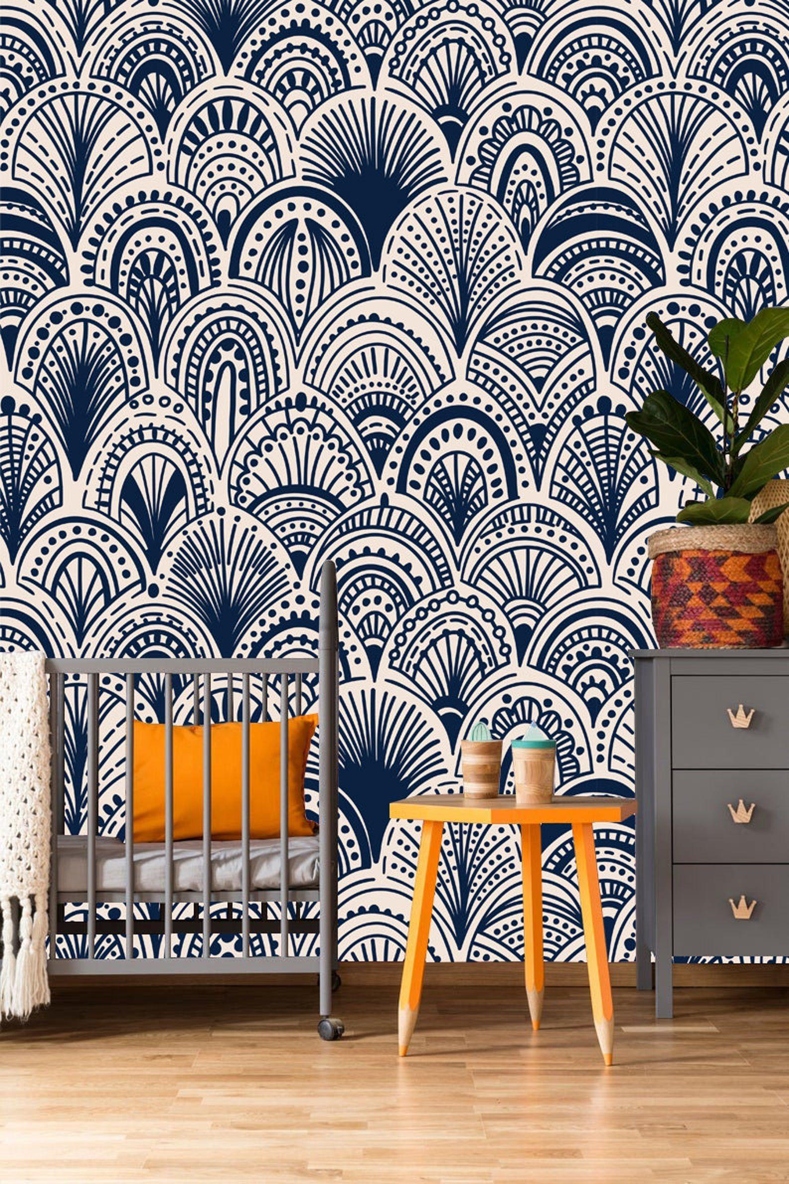 Blue Bohemian Removable Removable Wallpaper Peel Stick Etsy Removable Wallpaper Blue Walls Self Adhesive Wallpaper