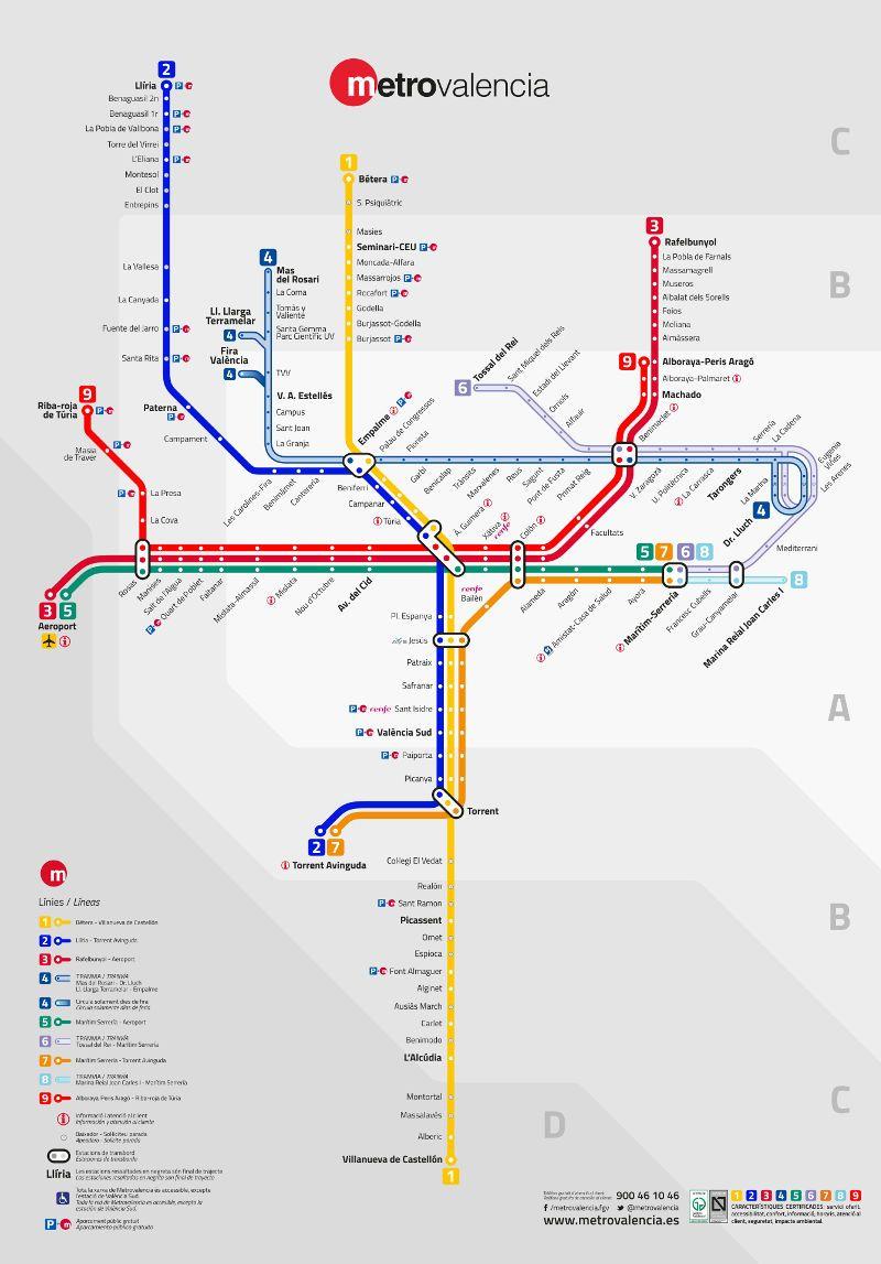 U-Bahn von Valencia | TRAVEL | Valencia map, Valencia und ...