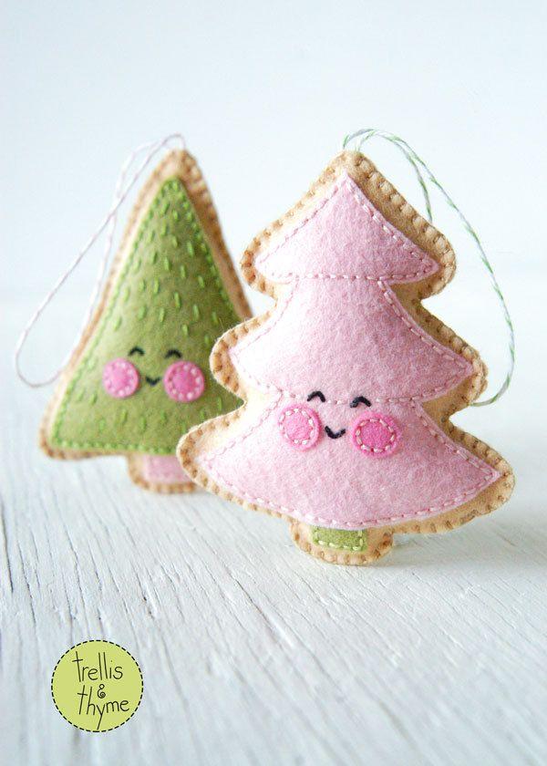 Felt Christmas Tree Ornaments Patterns.Pdf Pattern Merry Little Trees Sewing Pattern Christmas