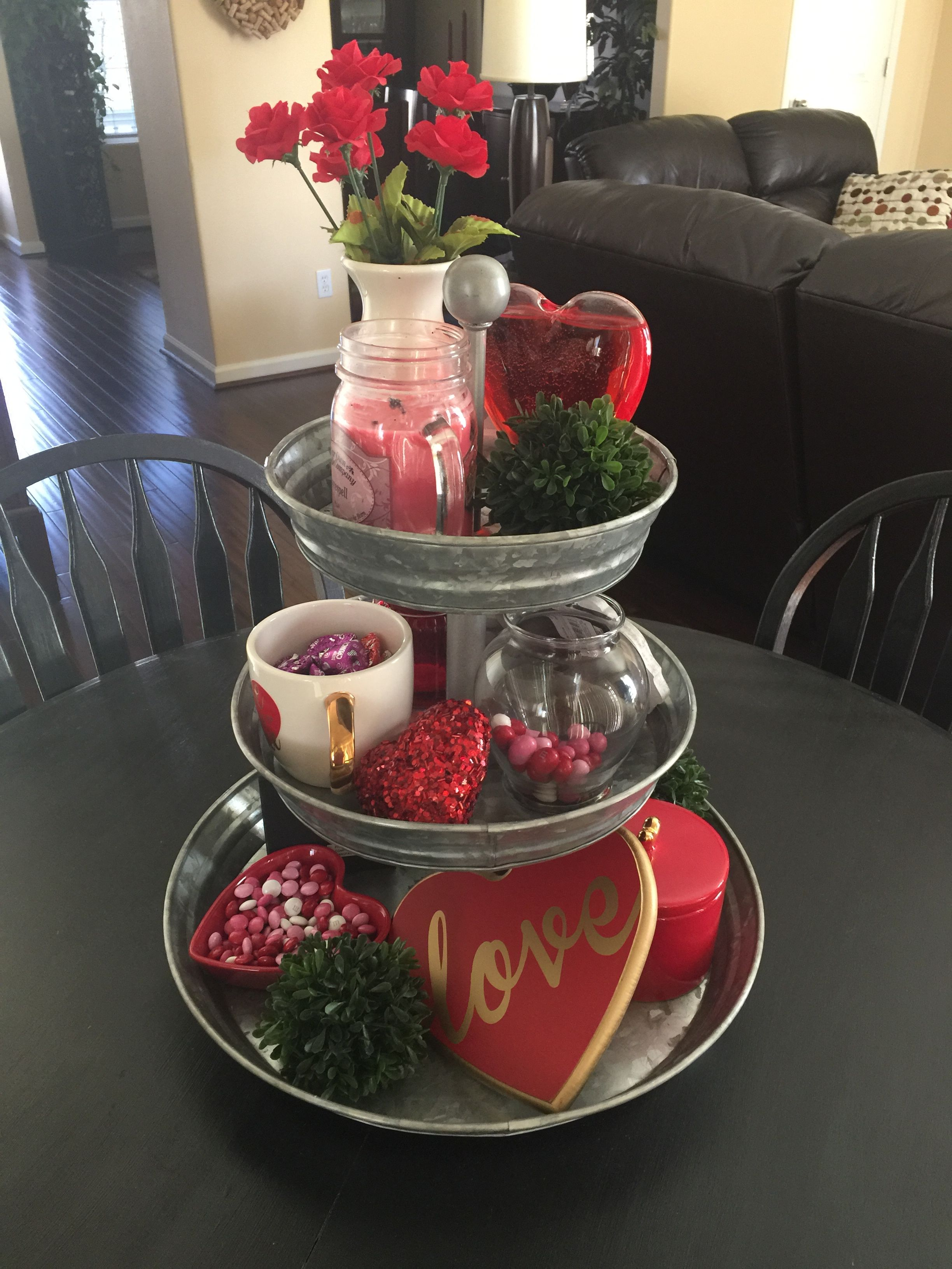 Obsessed With My 3 Tiered Tray First Holiday Valentinesday Potterybarn Diy Valentines Decorations Valentines Day Decorations Tiered Tray Decor