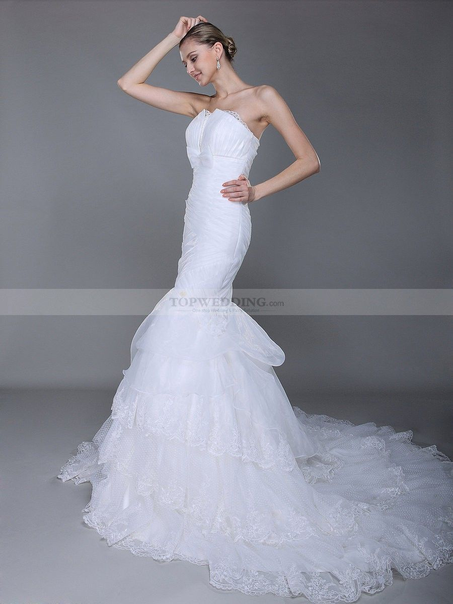 Courthouse wedding dress plus size  Tiered Lace and Organza Mermaid Wedding Dress with High Waist Line