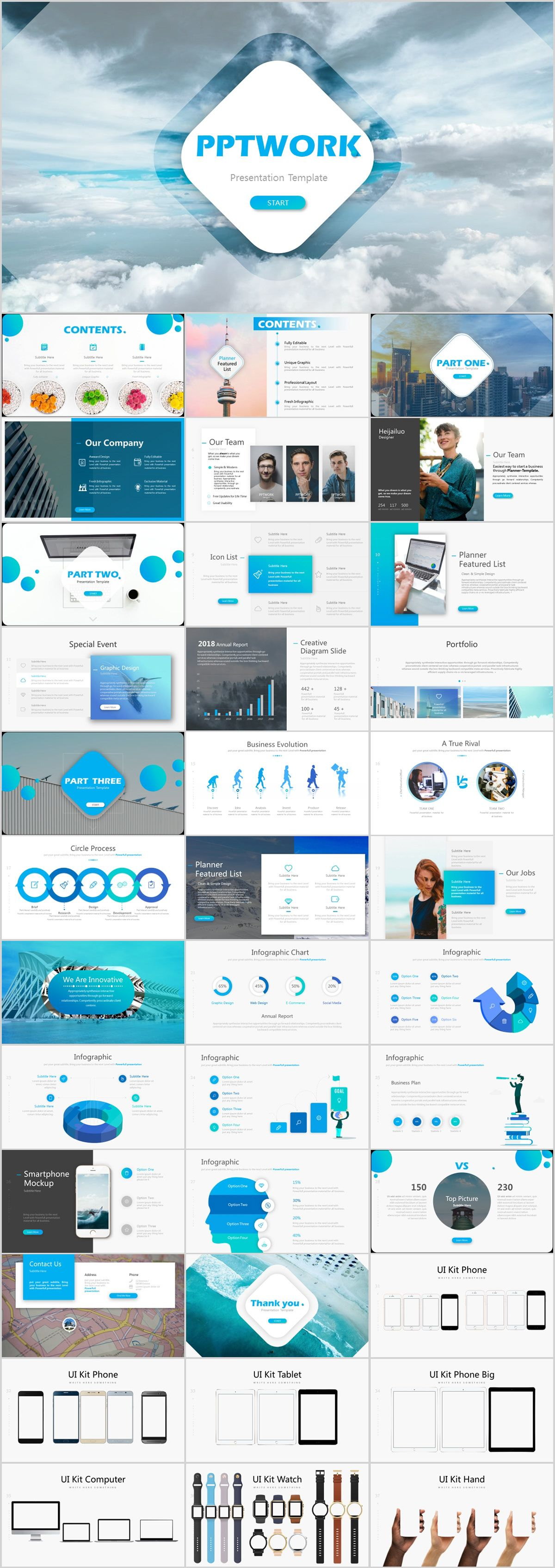 best blue company charts report powerpoint template on behance