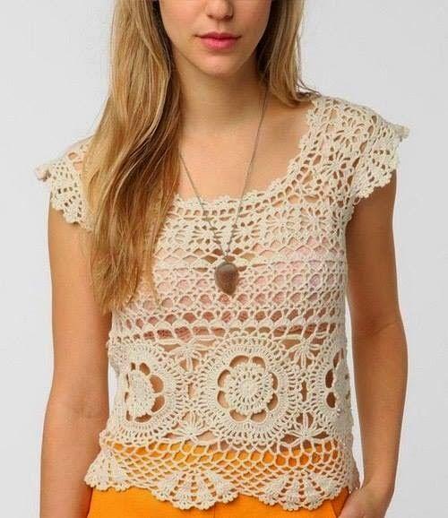 023f85411 Patrones Crochet, Manualidades y Reciclado: BLUSA DE VERANO A CROCHET