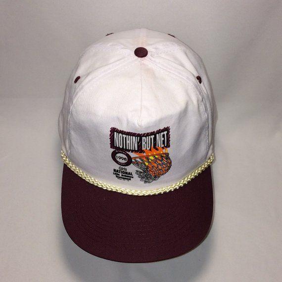 c2ff0dbae89c6 Vintage Rope Snapack Hat Nothin But Net Basketball Hats For Men White  Burgundy Cap T13 JL8055