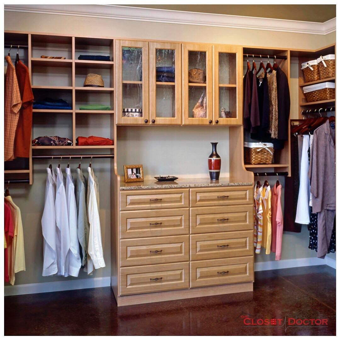 Wall Mounted Closet System With A Double Hutch, Glass Doors Above, Rouge  Square Drawer/door Fronts, In The Secret Apple Finish.