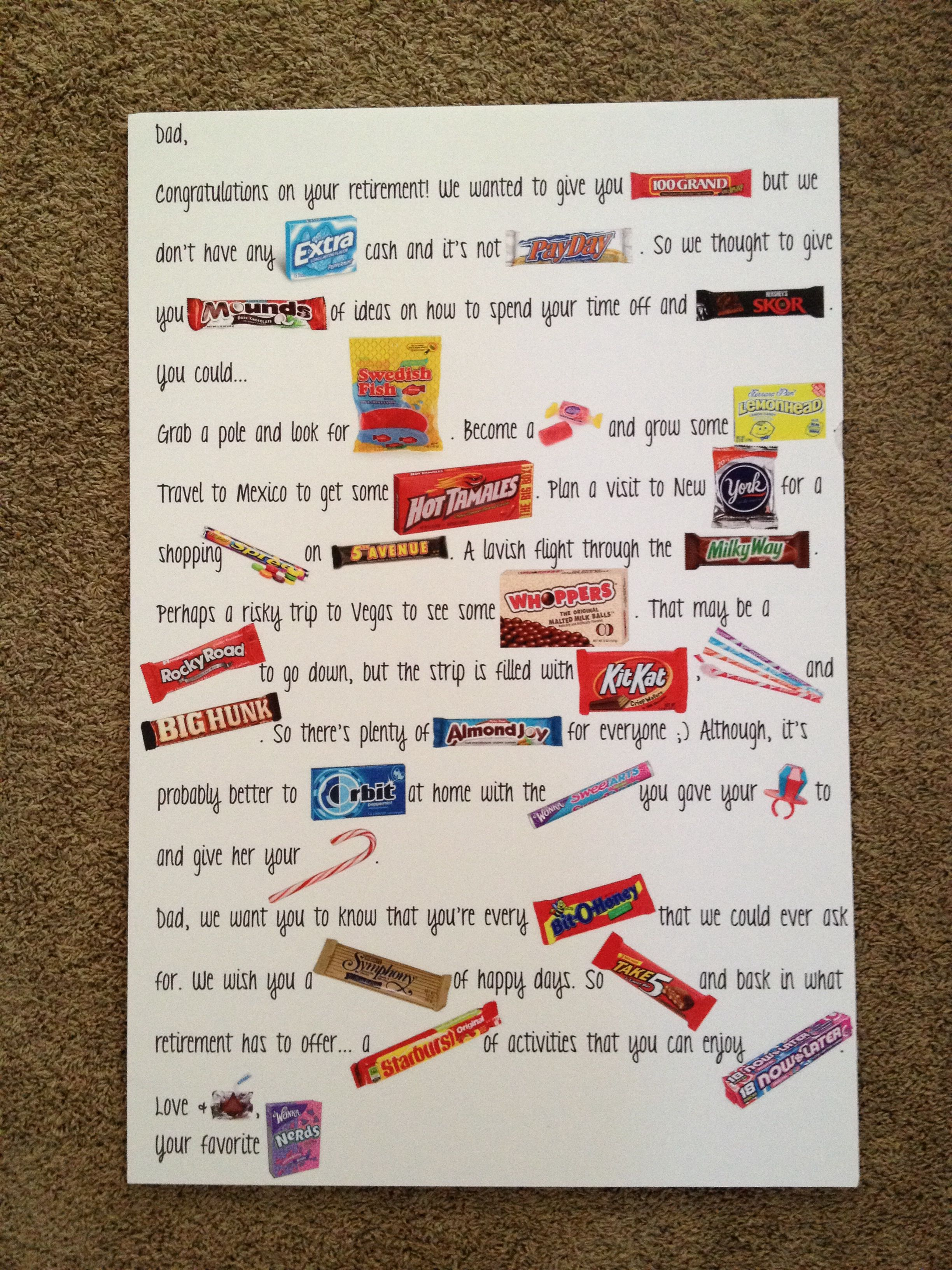 candy poster i created for my dad s retirement party retirement