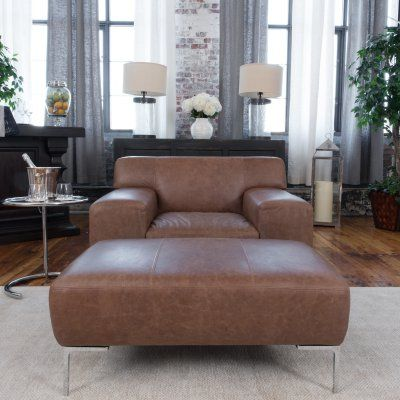 oversized chair and ottoman sets. Elements Fine Home Industrial 2-Piece Top Grain Leather Oversized Chair And Ottoman Set In Chestnut - IND-2PC-OC-OO-CHES-1 Sets
