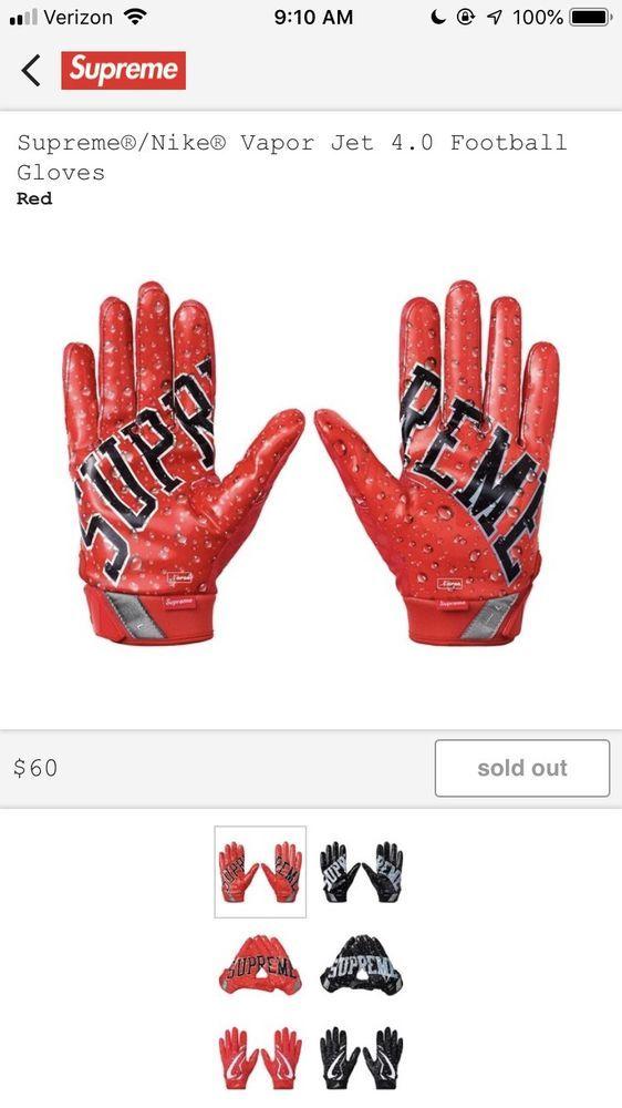 Supreme Nike Vapor Jet 4 0 Football Gloves Football Gloves Gloves Nike Vapor