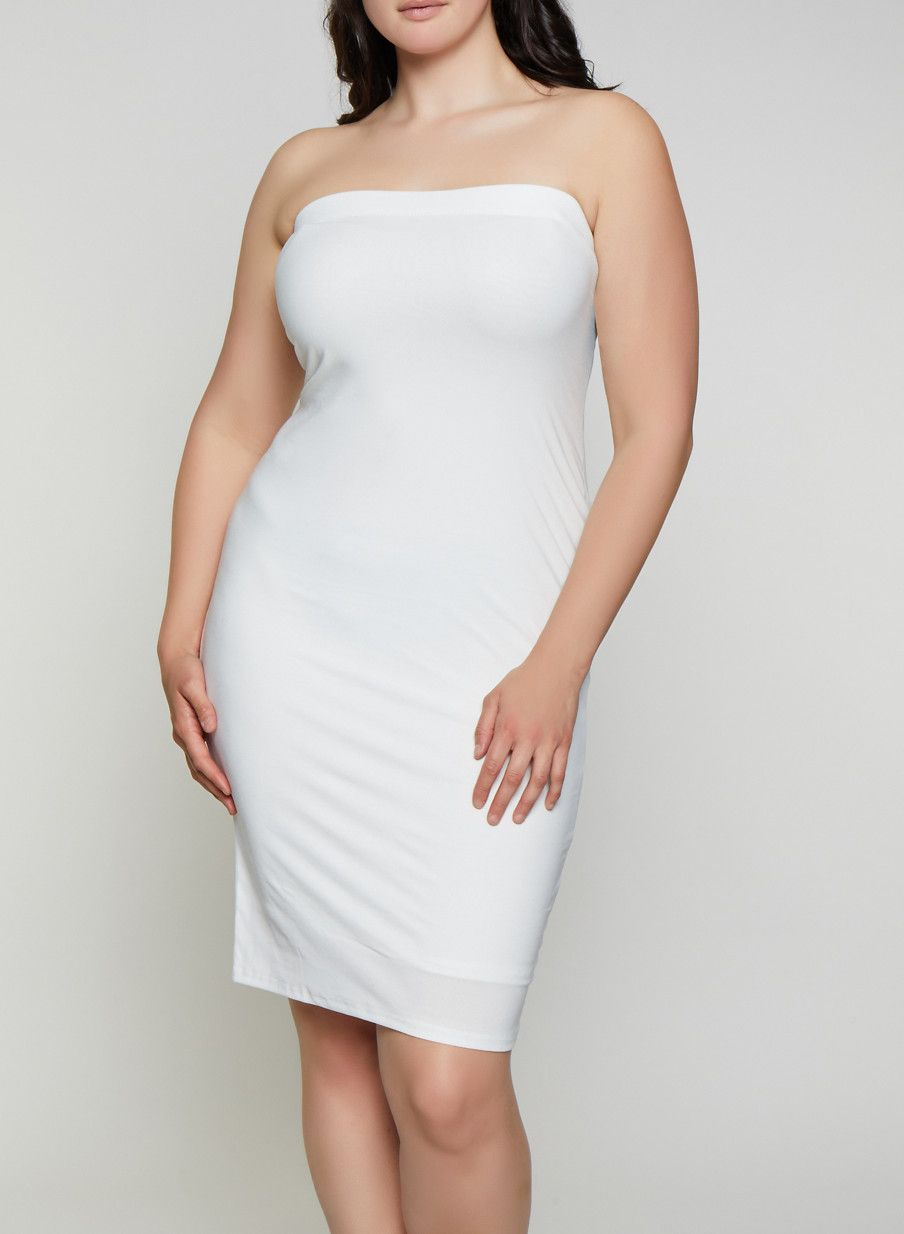 Plus Size Solid Midi Tube Dress - White - Size 3X in 2019 | Products ...