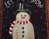 adorable snowman. Let it snow, canvas panel