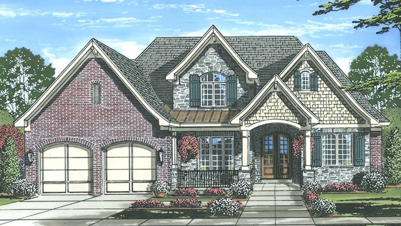 home plan homepw77909 is a gorgeous 3226 sq ft 2 story 4 bedroom - Brick English Home Plans