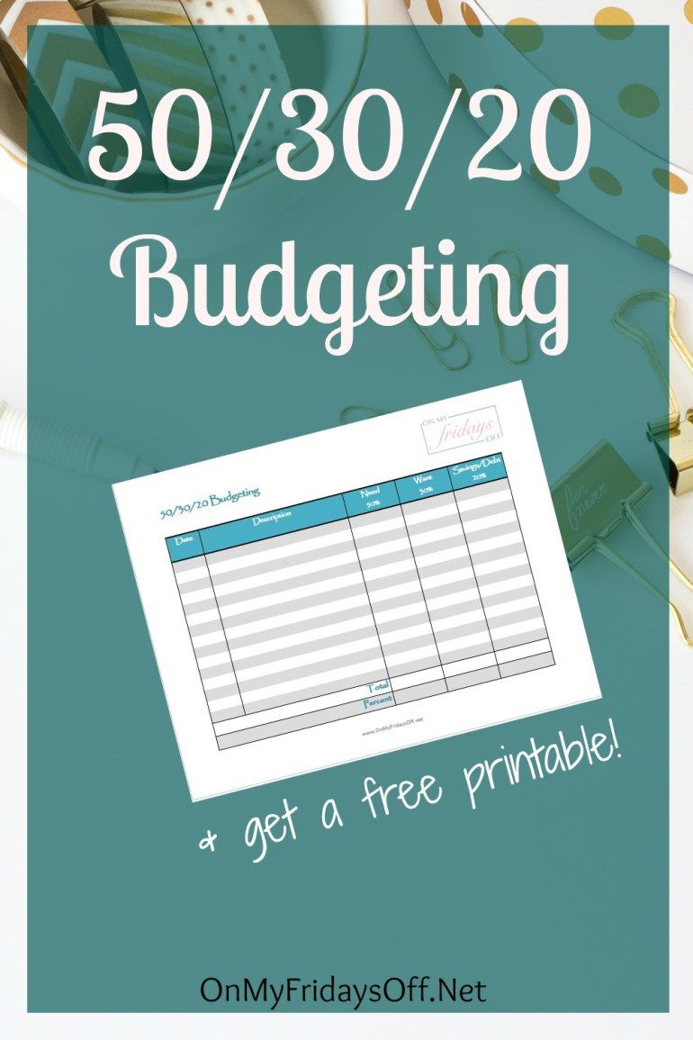 50/30/20 Budgeting | Pinterest | Printable budget worksheet ...