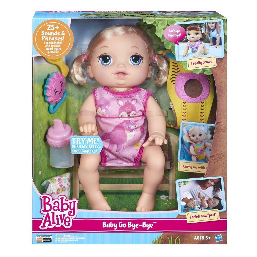 Baby Alive Baby Go Bye Bye Blonde Doll Crawls Drinks Wets Talks English Spanish Baby Dolls For Kids Baby Alive Dolls Baby Alive