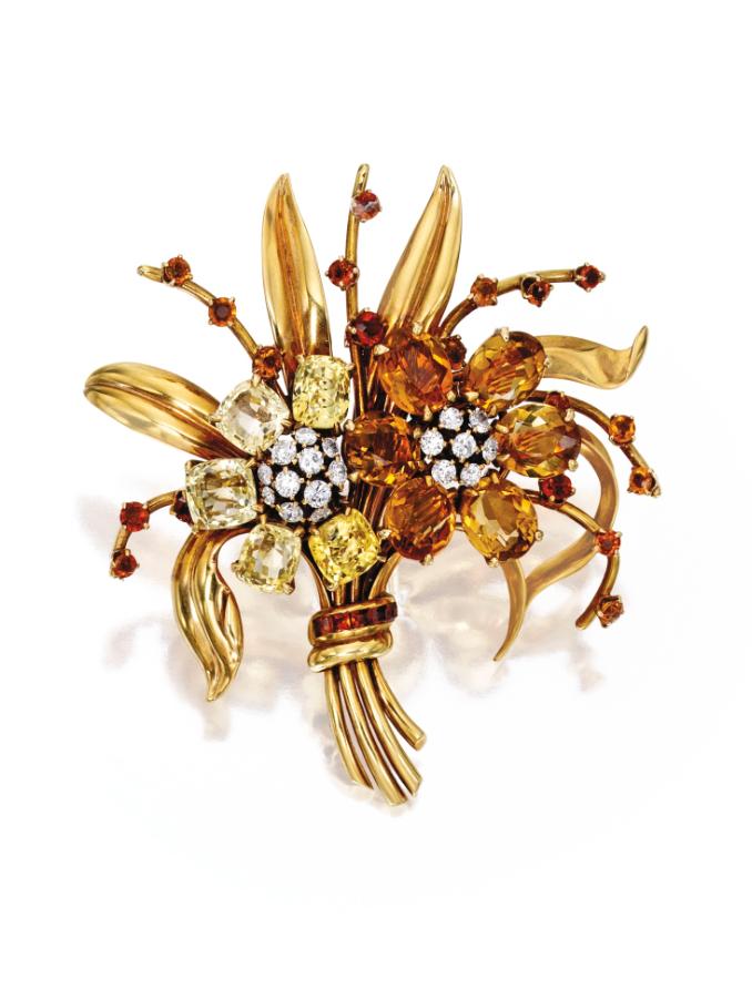 8 Karat Gold, Sapphire, Citrine and Diamond Brooch, Van Cleef & Arpels - circa 1940.