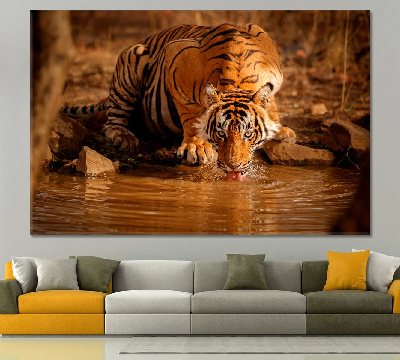 Tiger In The Nature Habitat India Wall Decor Abstract Wall Art