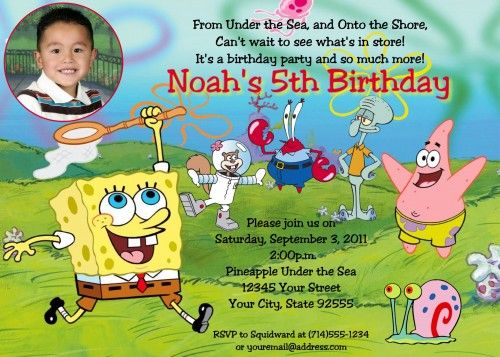 Spongebob Birthday Invitations Ideas For Andrew