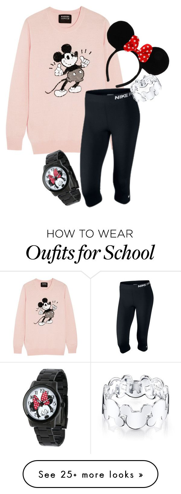 """Wishing I was Disney world instead of school.."" by malloryhatchett on Polyvore featuring Markus Lupfer, NIKE and Disney"