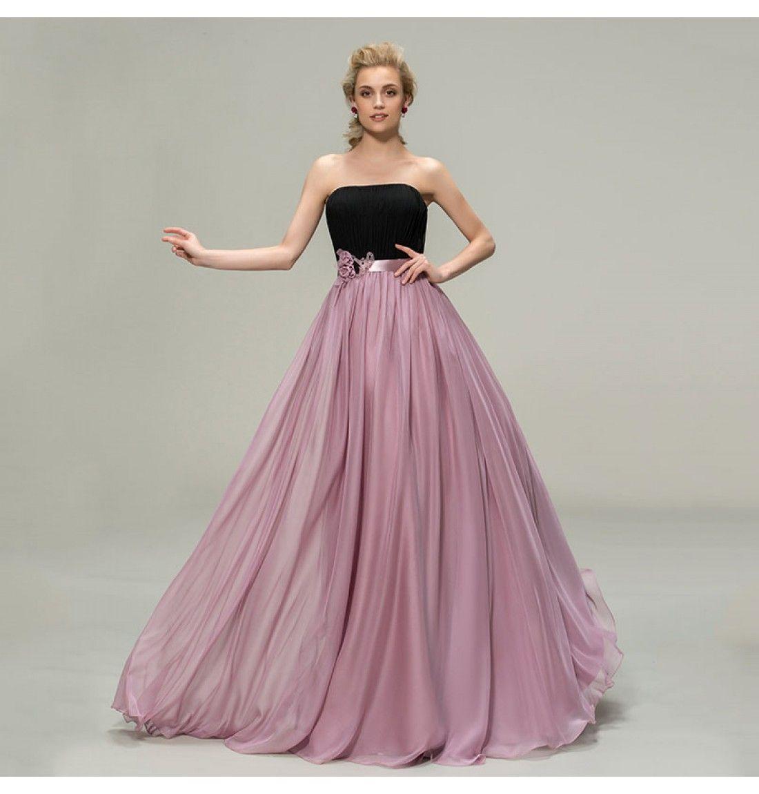Sommer Chiffon Schwarz & Lila Brautjungfer Kleid …   Pinteres…