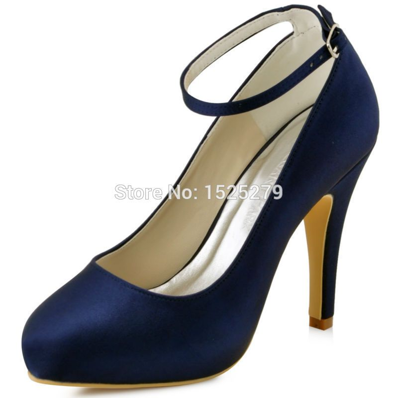 New Coler Ep11049 Ip Elegant Women Formal Party Pumps Navy Blue High Heels Wedding Platforms Ankle