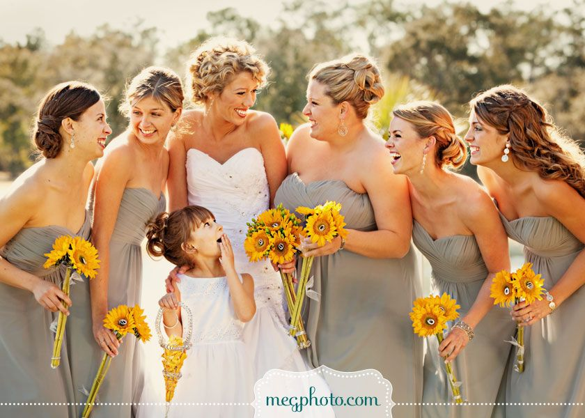Sunflowers and grey bridesmaids dresses love this but for Sunflower dresses for wedding