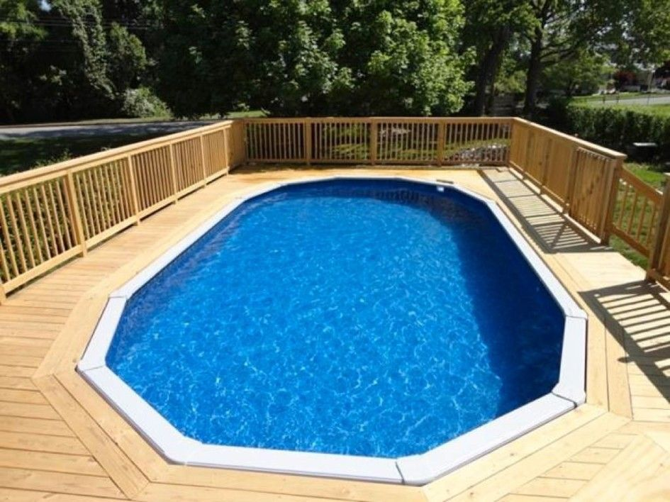 Imposing Pool Decks For Oval Pools With Shadow Box Wood Fence For Fiberglass Above Ground Pools Pool Deck Plans Backyard Pool Above Ground Pool Decks