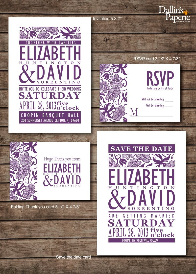 Damask purple flower Wedding Invitation RSVP Thank