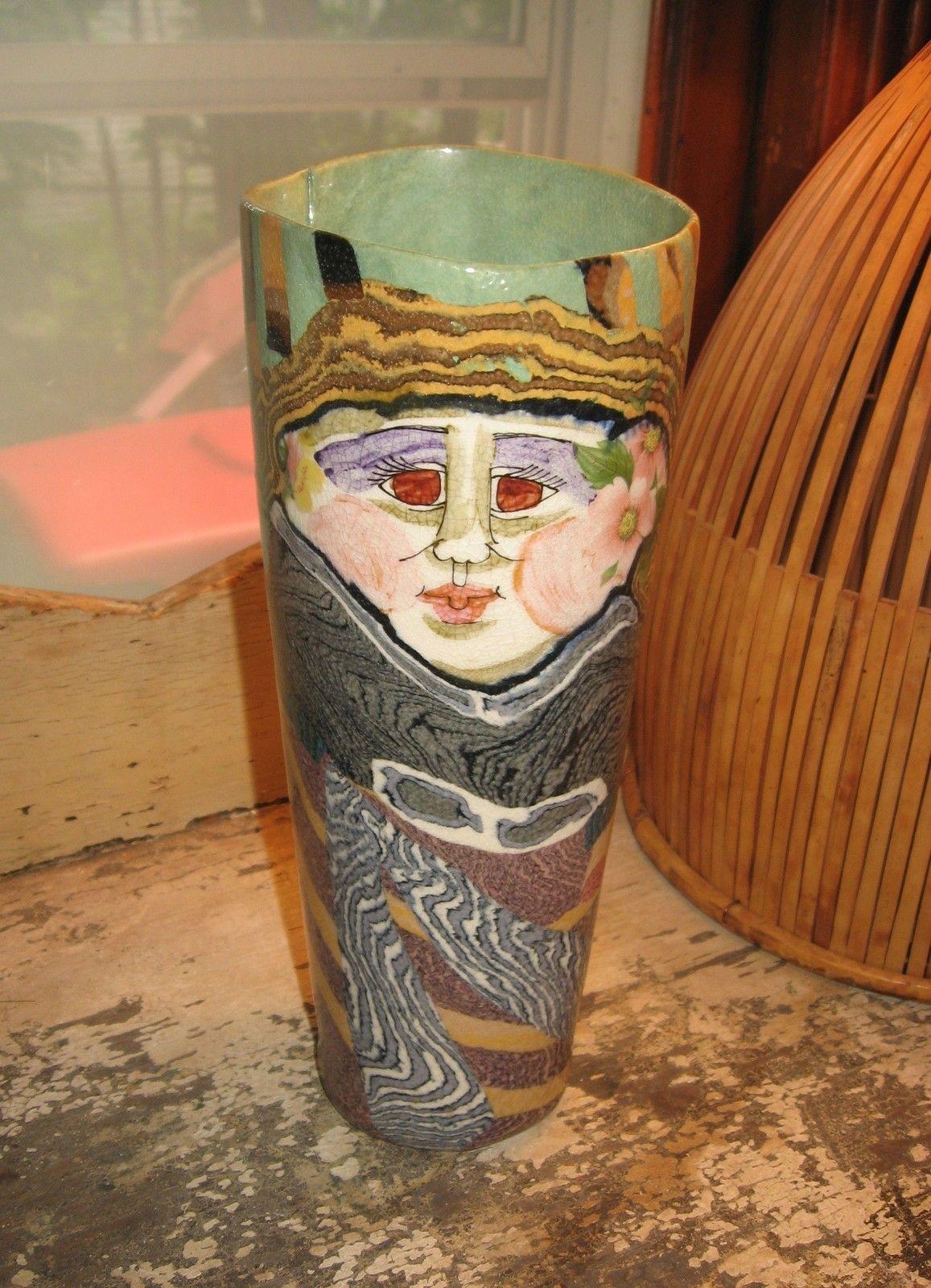 Jane Peiser Large Salt Glazed Porcelain Lady Vase Magical