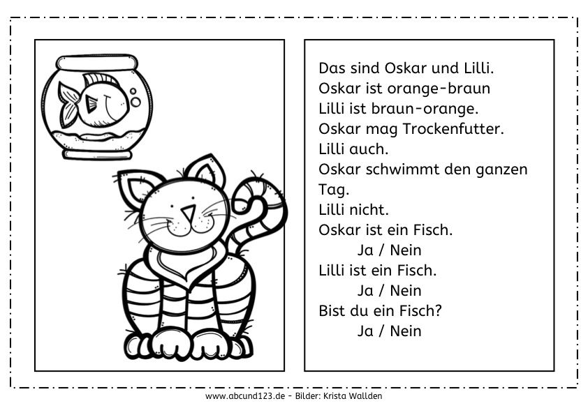 Katzen: Lesen und malen, Katzen, lesen, malen, Lesemalblatt ...