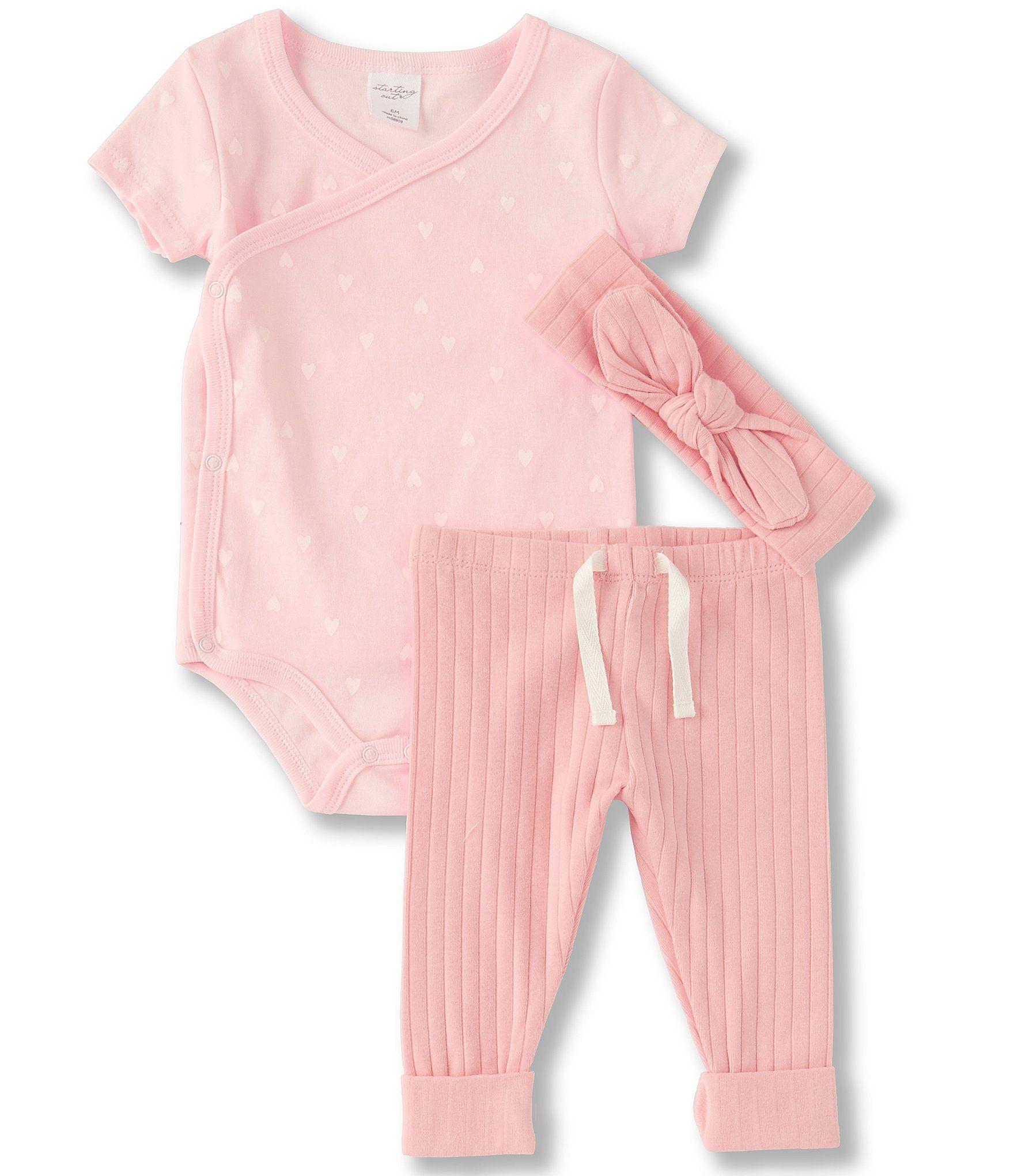 Starting Out Baby Girls Newborn-9 Months Short-Sleeve Heart Kimono Bodysuit, Leggings & Headband Set | Dillard's #babygirlheadbands