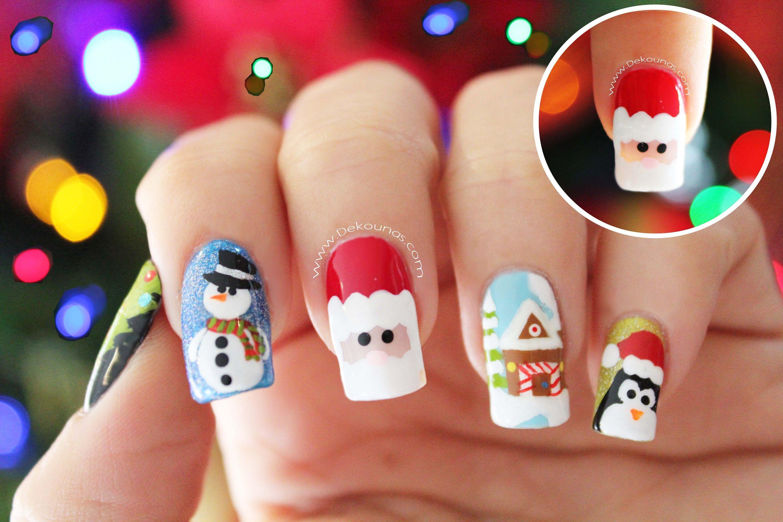 Decoración De Uñas Navidad Papá Noel Santa Claus Nail Art Uñas Sencillas Para Navidad Uñas Navidad Uñas Navideñas
