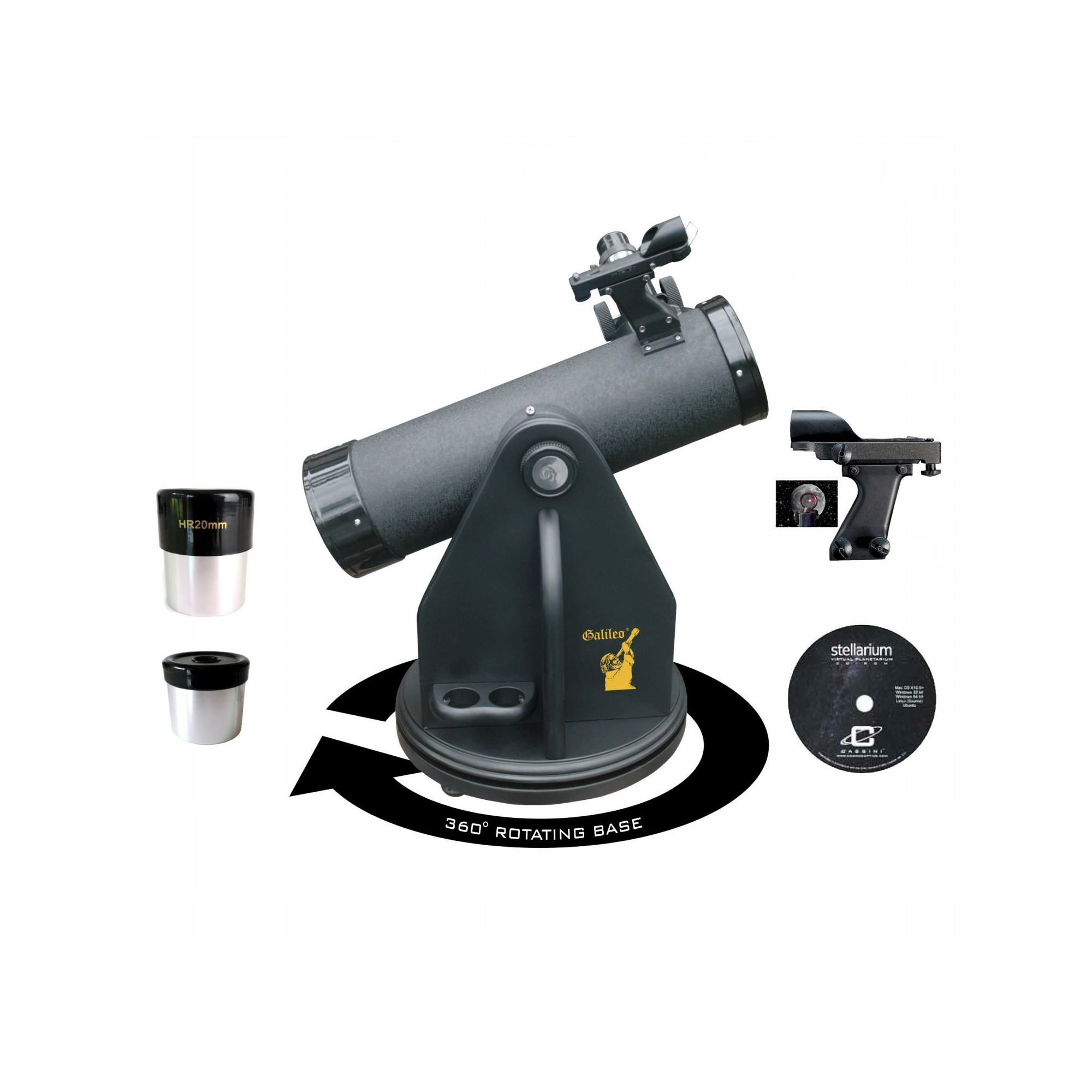 Galileo 500x80 Tabletop Dobsonian Reflector Telescope