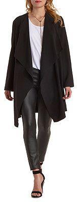 $38, Black Trenchcoat: Charlotte Russe Long Line Cascade Trench Coat. Sold by Charlotte Russe. Click for more info: https://lookastic.com/women/shop_items/307248/redirect