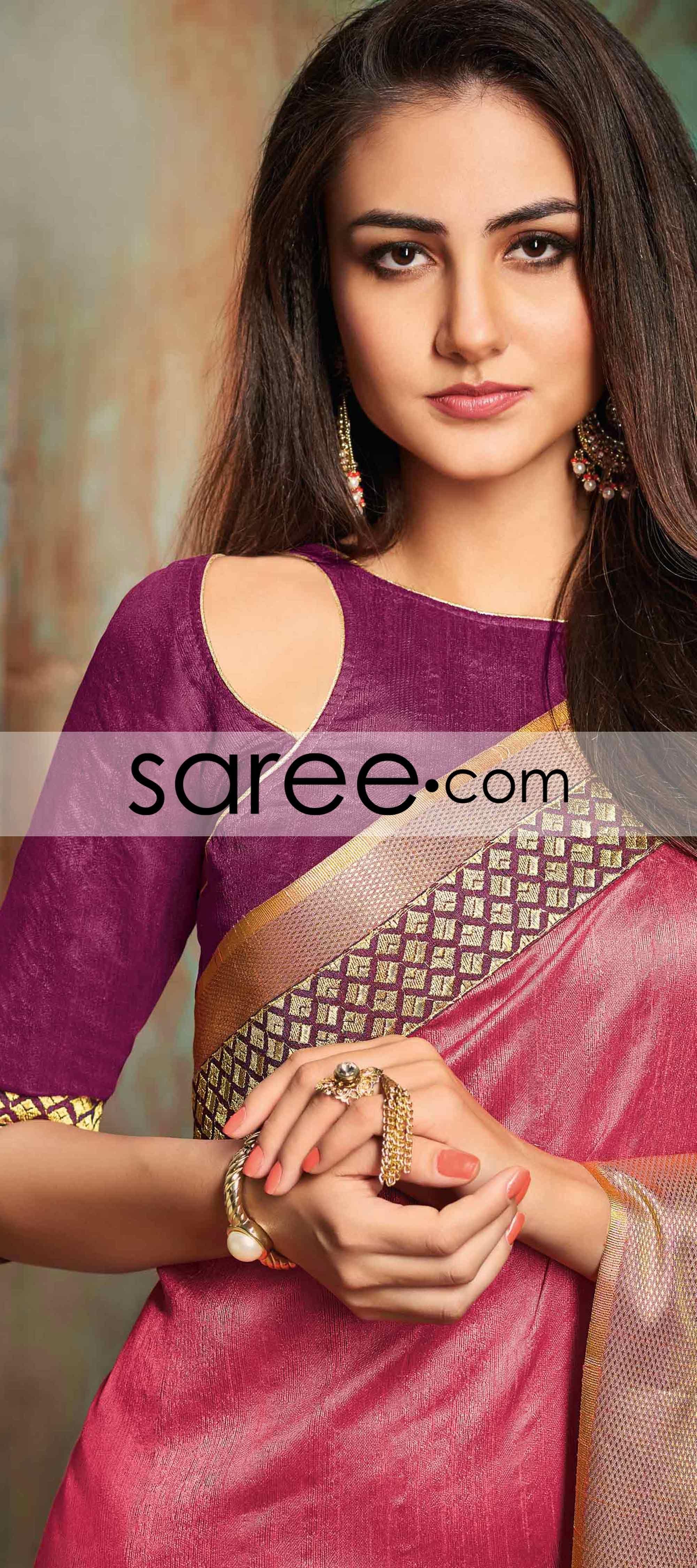 Pink Art Silk Saree With Zari Silk Saree Blouse Designs Patterns Blouse Designs Silk Blouse Designs