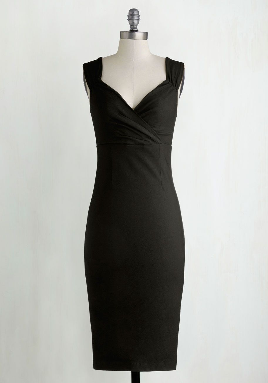 Lady Love Song Sheath Dress in Black