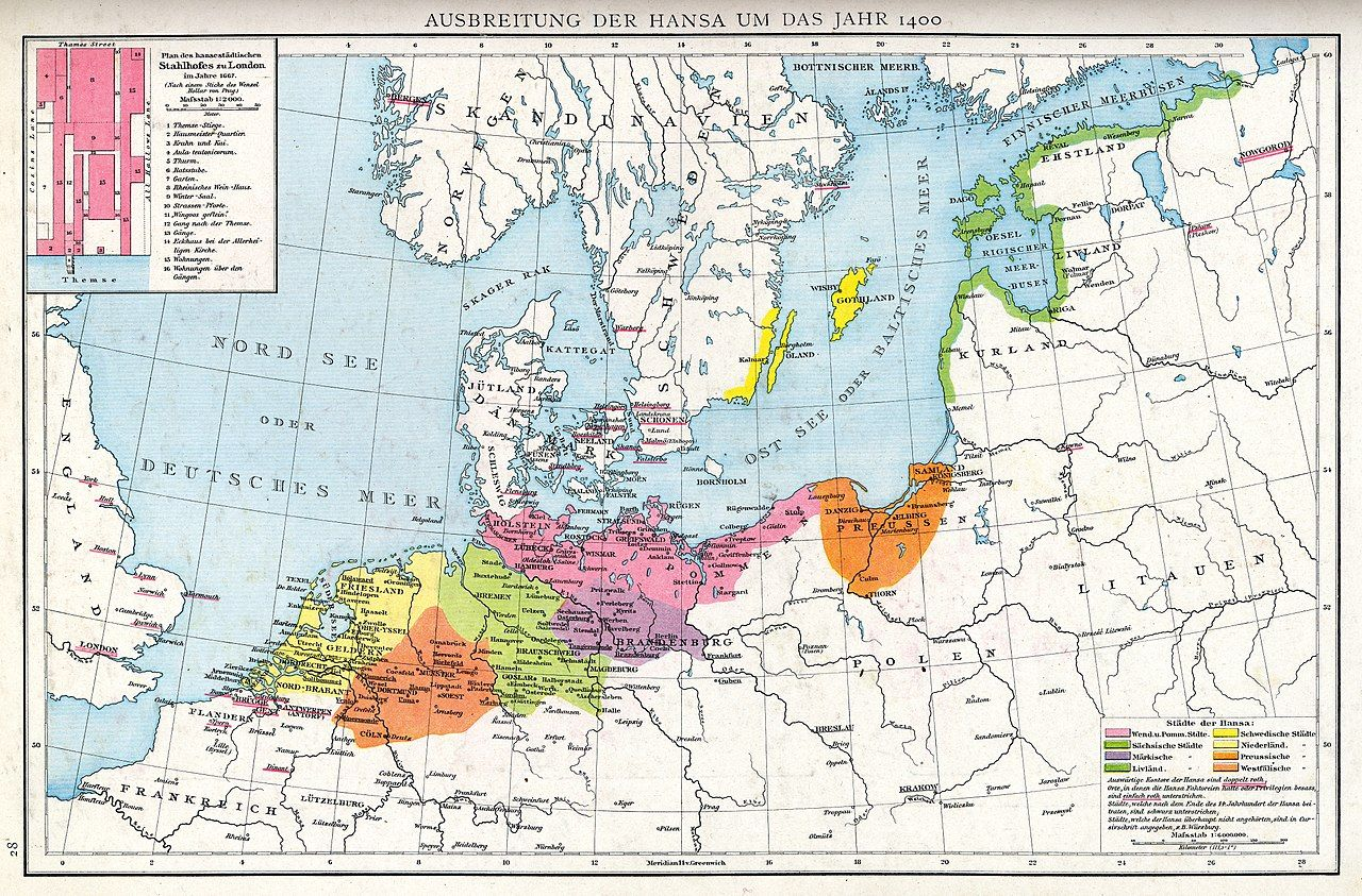 Northern Europe In The 1400s Showing The Extent Of The Hanseatic