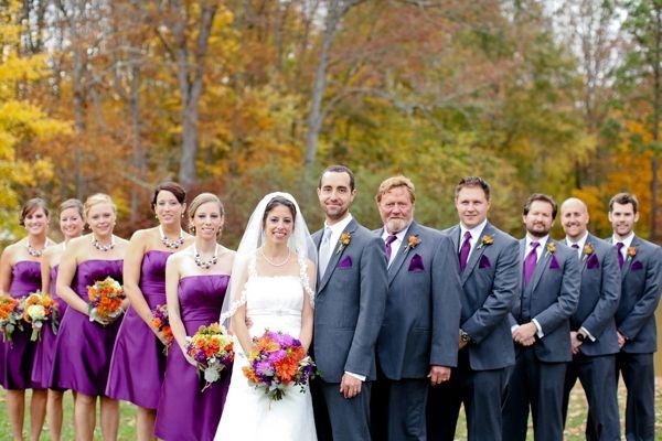 wedding party, rustic purple DIY wedding, purple and orange fall ...