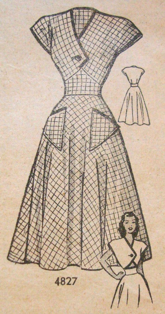 1940s Tea Dress Sewing Pattern Anne Adams 4827 Bust 31 Front Lap ...
