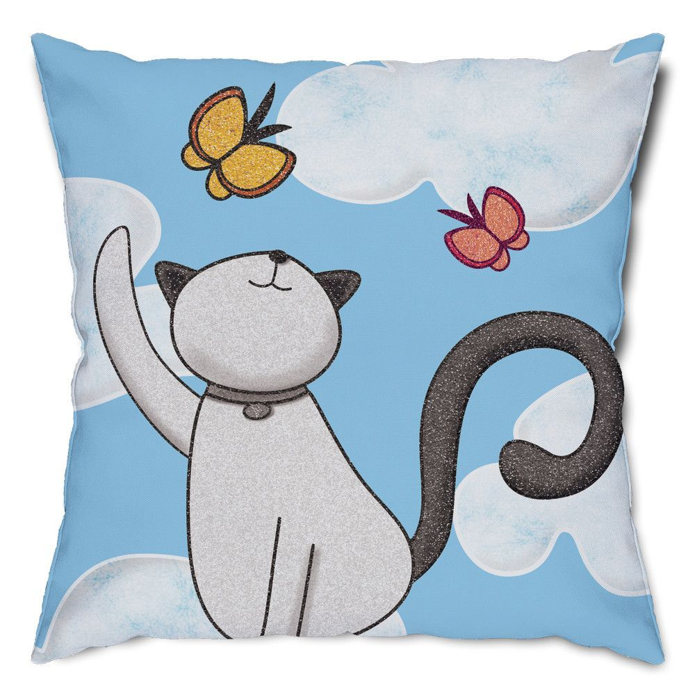 Playful Cat and Butterflies Throw Pillow