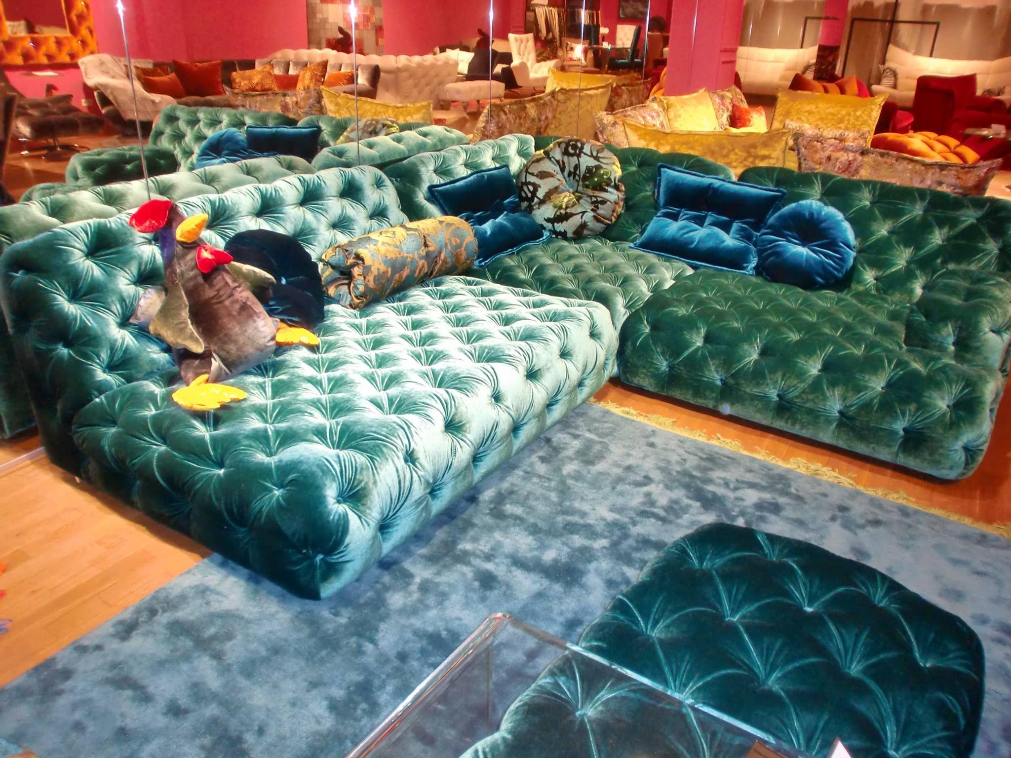 Modern Chesterfield Sofa by BRETZ Blue velour lounge German