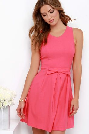 7a45d52e346f9 Pretty Coral Pink Dress - Fit and Flare Dress -  39.00