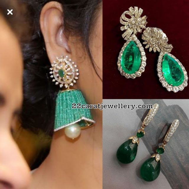 Emerald Drops And Diamonds Earrings