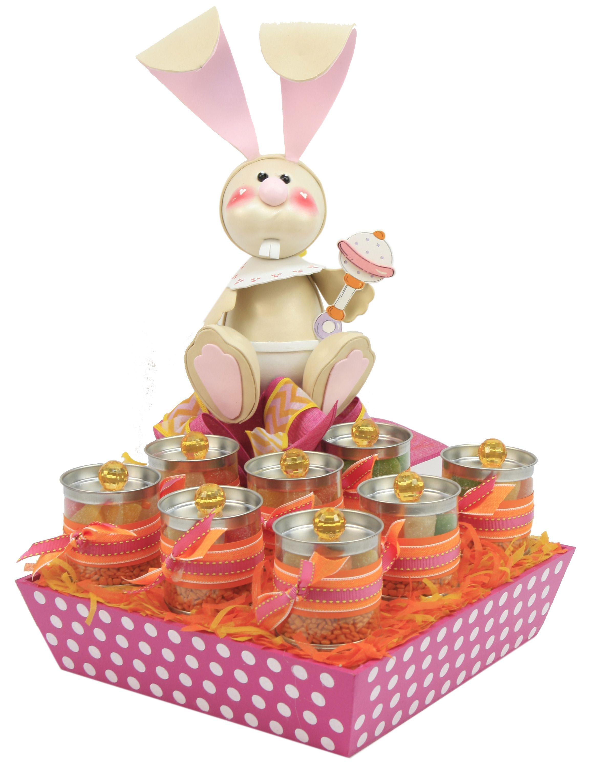 Recuerdos para baby shower caja de madera en color rosa y for Centros de mesa de madera
