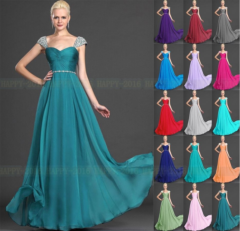 Cap Sleeve Floor Length Formal Evening dress Bridesmaid Dresses UK ...