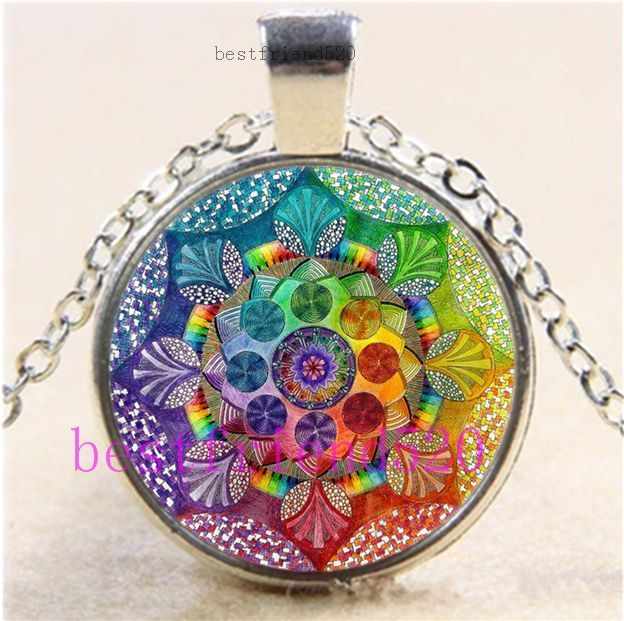 Flower of Life Photo Cabochon Glass Tibet Silver Chain Pendant Necklace