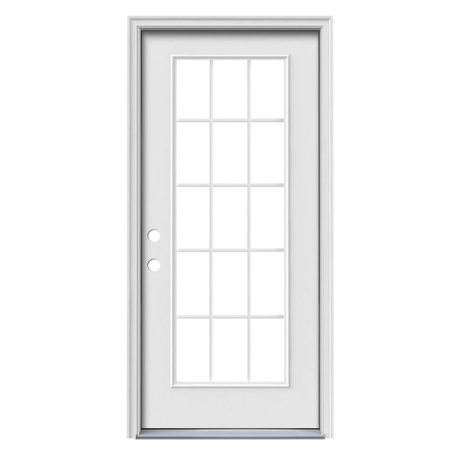 1 Panel Insulating Core 15 Lite Right Hand Inswing Steel Primed Prehung Entry Door Common 32 In X 80 In Actual 33 5 In X Entry Doors Reliabilt Primed Doors