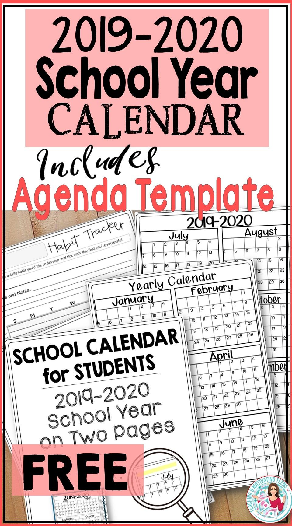 2019-2020 Back-to-School Calendar for Students & Teachers