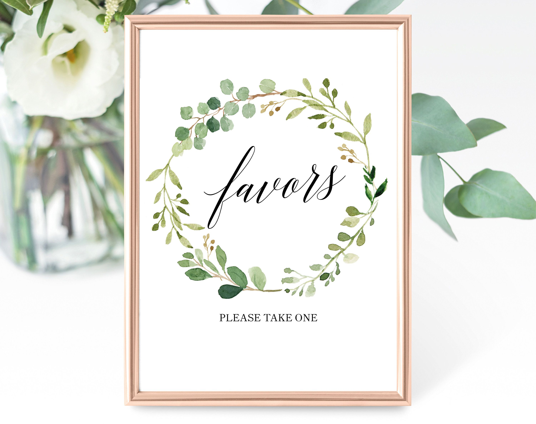Greenery wedding favor sign template printable favor sign